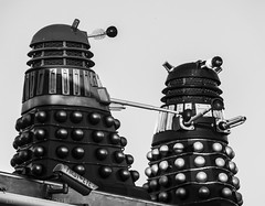HAPPY 50TH ANNIVERSARY DR. WHO! (lunaryuna) Tags: england funny yorkshire cctv gasstation doctorwho lunaryuna daleks surveillancecamera bigbrotheriswatchingyou bemyguest scifibuffsunleashed scifiesque rooftopsculptures