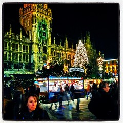 Christmas Market in Munich (mickyates) Tags: life painterly square lights vibrant lofi vivid manipulation squareformat ghosts hdr iphone iphoneography instagram instagramapp uploaded:by=instagram foursquare:venue=4b113b6bf964a5201f7923e3