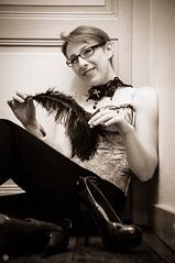 Portrait - Sabine-6 (Au Fil Des Caprices (photographer & model)) Tags: portrait collier gris noir femme blonde sabine lunettes sourire blanc dentelle plumes croix charme spia talons cheveuxcourts yeuxbleus escarpins