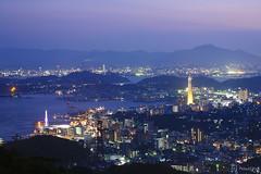 Hinoyama Park (tomosang R32m) Tags: park longexposure bridge japan night observation yamaguchi 夜景 下関 shimonoseki kanmonbridge 山口 kanmon 関門海峡 hinoyama 関門橋 火の山公園 hinoyamapark