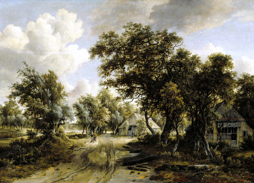 Meindert Hobbema - The Anthony de Rothschild Collection (Ascott House).  Cottage beside a Track through a Wood (c. 1662/1664)