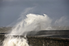 Rough seas (marra121) Tags: sky lighthouse white water wall pier harbour stormy rough whitehaven seas
