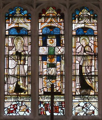 The 15th C. three-panel crucifiction sequence, the central rood panel now missing, the east window, the Chapel of St Nicholas, Gipping, Suffolk, England (Hunky Punk) Tags: uk windows england saint st john suffolk mary gothic churches stainedglass medieval chapels nicholas sequence middleages crucifixion gipping eastanglia hunkypunk spencermeans