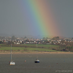 The end of the rainbow (ExeDave) Tags: p1277796 exmouth eastdevon exeestuary starcross teignbridge devon england gb uk landscape waterscape rainbow rain exe estuary river boats yachts sssi spa ramsarsite january 2014 housing grassland pasture farmland squarecrop iba