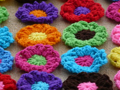 Detail of the puff flowers (crochetbug13) Tags: flowers flower circle circles crochet yarn round fatbag
