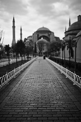 Early Morning walk outside the Hagia Sophia (NoahWmR12) Tags: travel white black canon turkey open bokeh path mark iii 14 wide istanbul mosque l 5d 35 sophia bnw hagia canonef35mmf14lusm