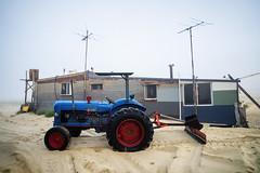 Mr. Plow (Leighton Wallis) Tags: blue house tractor home fog sunrise newcastle dawn major sony redwheels australia nsw newsouthwales shack pancake alpha 16mm e1 f28 portstephens fishingvillage fordson silvercity tincity stocktonbeach blacktyres mirrorless a7r ilce7r