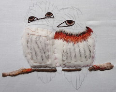 Little_bee_eaters_Trish_Burr_002 (www.miriam-blaylock.com) Tags: stitch embroidery stitching threadpainting needlepainting littlebeeeaters longandshortstitch birdembroidery trishburr