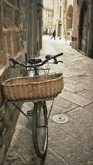 In Lucca, Italy (Randy Durrum) Tags: italy bike bicycle europe basket pavement eu samsung nik durrum leuropepittoresque snapseed flickrandroidapp:filter=none
