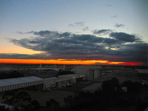 Colourful sky over Sydney Airport