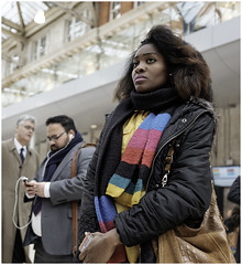 Colourful character (mesonparticle) Tags: woman girl lady scarf streetphotography fujifilm colourful waterloostation blackwoman londonwaterloo classicchrome x100t topgunning