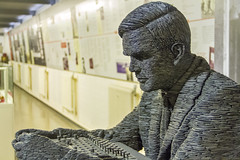 Alan Turing (Kev Gregory (General)) Tags: alan turing alistair denniston bletchley park trust britain buckinghamshire bucks codebreakers cracked cypher england enigma harold doc keen lorenz memorial monument museum national sculpture slate statue stephen kettle two uk ultra war world wwii homosexual rights computer science lgbt glbt english scientist mathematician logician cryptanalyst theoretical biologist kev gregory canon 7d