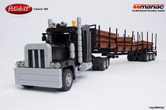 01_Peterbilt_389_classic_with_Manac_forestry_trailer (LegoMathijs) Tags: lego moc legomathijs forestry peterbilt 389 classic minifig scale manac customized trailer wood logging truck wheels amerika canada black logs rigid hose