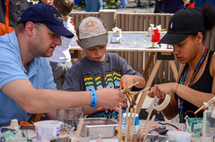 Maker Faire 2013 (The Tinkering Studio) Tags: outdoors chalk making exploratorium makers makerfaire tinkeringstudio scribblingmachines makerfaire2013 rickshawobscura skateparklet