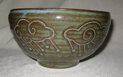 Storm bowl #2, big spiral cloud (mikkashar) Tags: ceramic spiral carved waterdrop crafts bowl pottery lightning cloudrain darkstoneware madebymikkashar