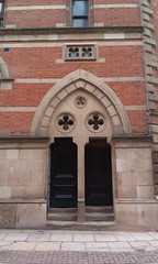 Memorial Hall double door (misterworthington) Tags: brick architecture manchester gothic victorian lancashire albertsquare worthington thomasworthington deanrowchapel claudeworthington