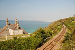 The St Ives Branch Line at Carbis Bay (zawtowers) Tags: summer holiday hot beach sunshine weather june st train bay seaside warm soft cornwall track branch break sandy railway sunny line resort east porth tor curve heading ives reb sweeping carbis kernow 2013
