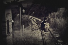 the ghost of the old train station. (Love me tender ♪¸.•*´¨´¨*•.♪¸.•*´) Tags: woman monochrome june sepia train photography digitalart imagination ghosts lonely phantasm dimitra 2013 alwaysexc mygearandme nikond3100 kirgiannaki