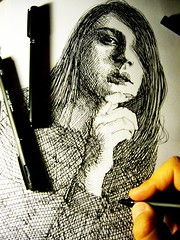 201306272231 (lindenb) Tags: portrait bw woman art girl face illustration pen p