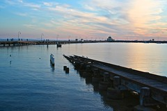St Kilda Pier, Victoria (Marian Pollock - Thanks for a million+ views) Tags: sunset sea seagulls water clouds pier australia melbourne victoria stkilda pinkclouds waterscapes portphilipbay