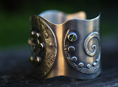 Spiral Beginnings (SpiralStone) Tags: metal handmade jewelry jewellery jade bracelet metalwork sterling cuff greenstone paua reticulated sterlingsilver nephrite spiralstone recycledsterlingsilver