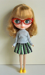 stripe skirt with silver high-necked shirt
