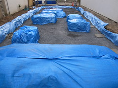 covered mounds of earth (Samm Bennett) Tags: japan tokyo wrapped covered shrouded draped