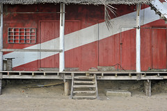 (Crausby) Tags: wood travel red building tourism beach real wooden asia empty stripe nobody hut shack srilanka hikkaduwa hikka