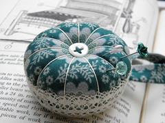 Custom Cushion for Chrissie and Norris (Wychbury Designs) Tags: white green handmade lace sewing cream pins jade needle pincushion custom commission weaving loom handloom sewingbox
