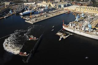 USS West Virginia departs Norfolk Naval Shipyard.