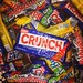 Pile of Crunch Butter Finger Snickers Baby Ruth Candy Bars