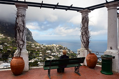 Amelie in Capri (Marko Stavric) Tags: travel sea italy woman bench capri march spring vines europe campania gazebo pots amelie tyrrhenian gulfofnaples lowseason