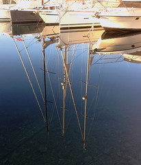 Mast reflection (Rich3591) Tags: france reflection boat still mediterranean delivery beaulieusurmer masts challengeyouwinner sunseeker82