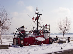 Red Boat (NickyJameson) Tags: urban snow ontario canada ice canon boats photography boat frozen harbour tug winterday torontoharbourfront torontowaterfront t5i torontowinterscene