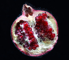 Pomegranate in water with air bubbles on a black background (Fiery-Phoenix) Tags: life light red food plant abstract motion black color nature wet water fruit juicy still healthy colorful aqua underwater natural bright image drink sweet cut eating juice background space seed wave pomegranate drop fresh clean half bubble tropical swirl diet liquid washing section isolated freshness ripe refreshment vitamin splashing antioxidant