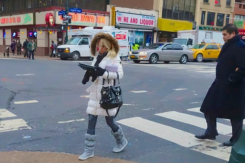 Even when it's bitter cold, New Yorkers like to tap away on their