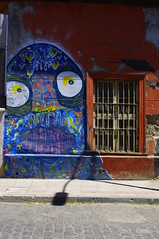 Street Art, Santiago de Chile, Chile (ARNAUD_Z_VOYAGE) Tags: chile street city blue santiago sunset sea sky people orange sun white house black color building green art cars ice water birds animal yellow azul clouds america port river de landscape puerto grey boat town casa view pentax grafiti south threes kx