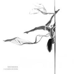 IMG_4901_CR (_aswang) Tags: bw woman white black girl beauty fly dance body stretch pole poledance