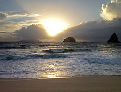 Lev de soleil sur la Pointe des Chteaux (ptibat) Tags: voyage morning sunset sea sky sun mer water clouds soleil nuages plage reflets guadeloupe matin leverdesoleil iphone levdesoleil ptibat