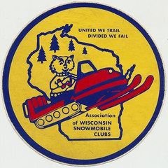 Association of Wisconsin Snowmobile Clubs (The Cardboard America Archives) Tags: wisconsin vintage sticker postcard snowmobile