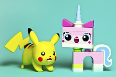 Pikachu & Unikitty (Evan MacPhail Photography) Tags: color colour toy photography lego fig mini pikachu minifig minifigs figs unikitty