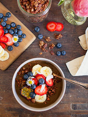 cacao & coconut smoothie bowl | spicyicecream (spicyicecream) Tags: healthy strawberry berries coconut bowl banana blueberry granola smoothie passionfruit cacao