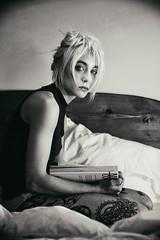 A Million of Reasons (valerio magini ph) Tags: valeriomaginiphotographer portrait woman bed book blackandwhite monocrome indoor tatoo melancholy loft blonde skin blanket