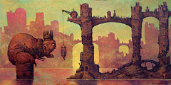 Feeding the King by Michael Hutter (JamesGoblin) Tags: oil painting oilpainting surreal surrealism art king feed town building buildings city landscape monster demon sea seaside coast tower people procession cannibalism food maneater crowd outdoors
