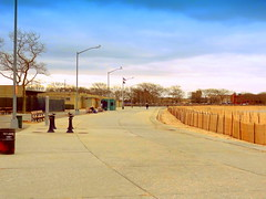 Manhattan Beach at Winter. Deserted Promenade (dimaruss34) Tags: newyork brooklyn dmitriyfomenko image sky clouds winter manhattanbeach fence