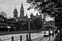 Ottawa Canal Parliament (City Clock Magazine) Tags: bw blackandwhite canada nationalcapitalregion northamerica ontario ottawa parliamentbuildings parliamenthill rideaucanal canal downtown