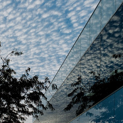 Reflections at Work, 2017 (James Banko Photography) Tags: reflection melbourne x100 x100t fujifilm work atwork suburbs sunrise minimal clouds outdoors building business artistic creative