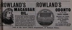 1898 Ads for Rowland's Macassar Oil and Rowland's Odonto (University of Glasgow Library) Tags: victorian 1898 fashion history dresshistory clothing armynavyco illustrations universityofglasgowlibrary cosmetics ads advertisements dental hygiene soap makeup beauty health advertising vintage twentieth century 19century 1800s houseoffraser studentplacement rowlands macassar oil odonto hair