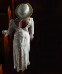 The Shunning (coollessons2004) Tags: krystalsmith mystery mysterious mystical woman beauty dress white hat elegant
