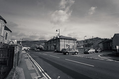 On the street. (L. McG.-E.) Tags: blackandwhite bw monochrome southwales architecture streetphotography policestation risca shuttersisters thecameramen mortalmuses 52photosproject